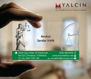 Avukat Şeffaf Kartvizit YM-1054