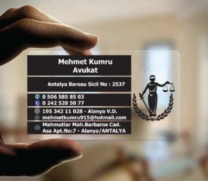Avukat Şeffaf Kartvizit YM-1091